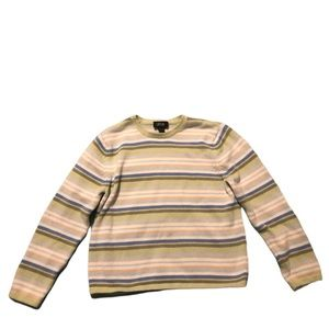 Loulou Sweater Striped Crew Neck Ribbed Green Blue